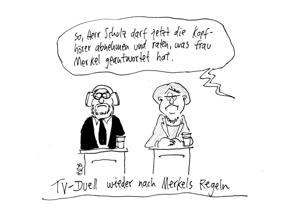 """""""So, Herr Schulz darf jetzt die Kopfhörer abnehmen und raten, was Frau Merkel geantwortet hat."""" - TV-Duell wieder nach Merkels Regeln"""
