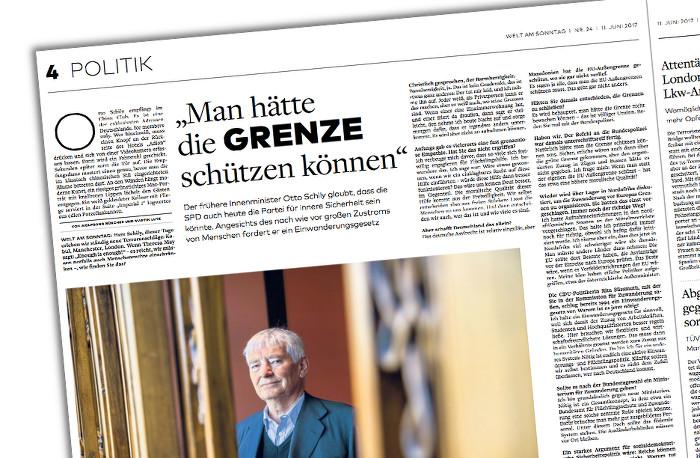 """Eine Seite aus der """"Welt am Sonntag"""" vom 11.6.2017 mit dem Interview mit Otto Schily, Überschrift: """"Man hätte die Grenze schützen können"""""""