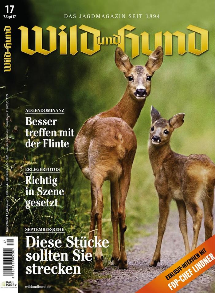 """Titelseite der Zeitschrift """"Wild & Hund"""" vom 7.9.2017 mit zwei Rehen, die sich zur Kamera umblicken."""