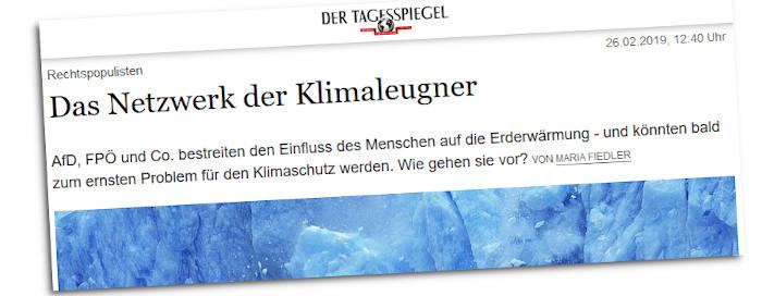 Klimaleugner-Artikel im Tagesspiegel
