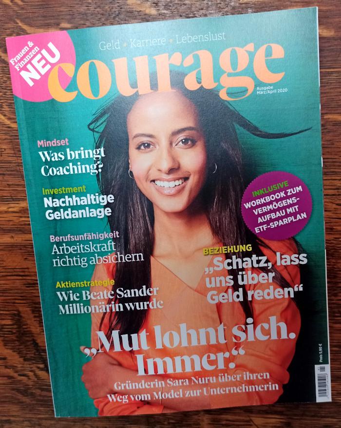 Das Cover des Magazins Courage mit Sara Nuru auf dem Titel