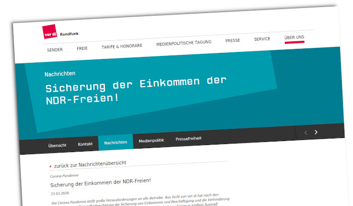 Ein Screenshot der Verdi-Website mit dem Beitrag zu den Freien im NDR