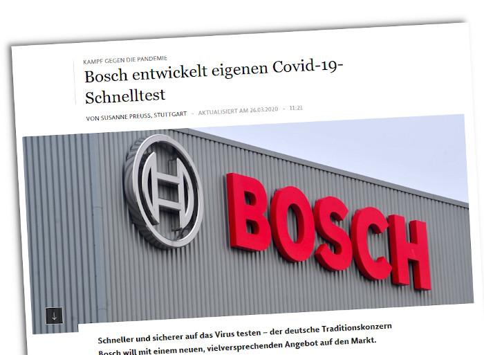 Die Meldung der FAZ zum Covid19-Schnelltest von Bosch