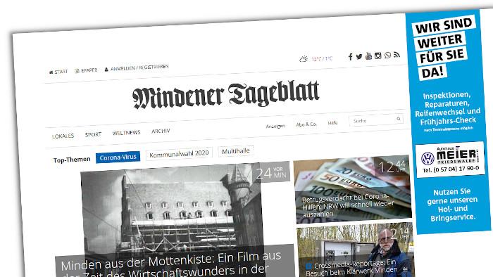 Die Website des Mindener Tageblatts