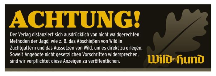 Hinweis auf die Verpflichtung, dass Wild und Hund Anzeigen abdrucken müsste