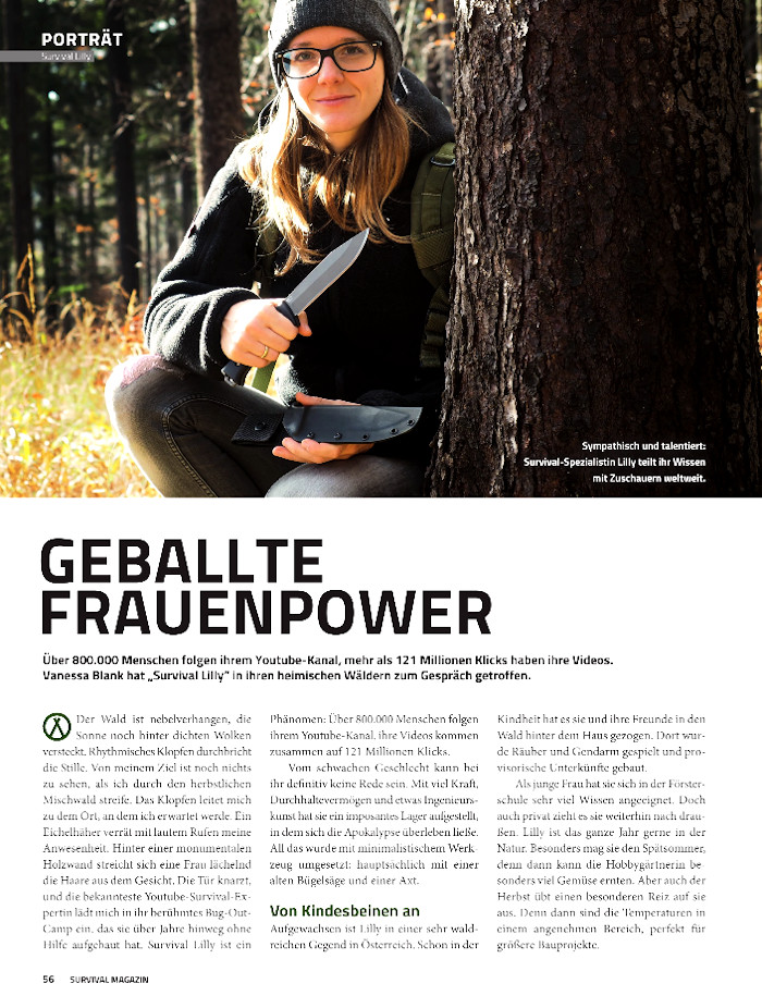 Survival Lilly im Survival Magazin