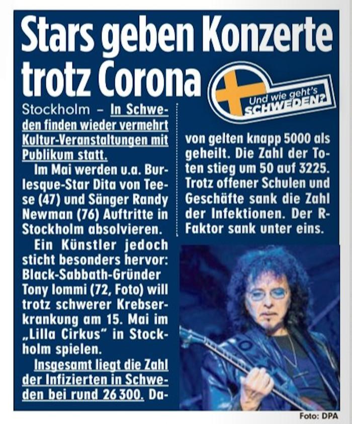 Ausriss aus der Bild vom 12. Mai zu Konzerten in Schweden