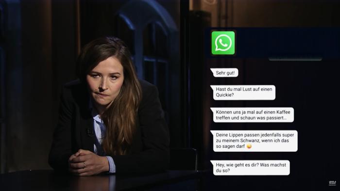 """Katrin Bauerfeind liest in """"Männerwelten"""" bei ProSieben aus Chats vor, in denen Frauen belästigt werden"""