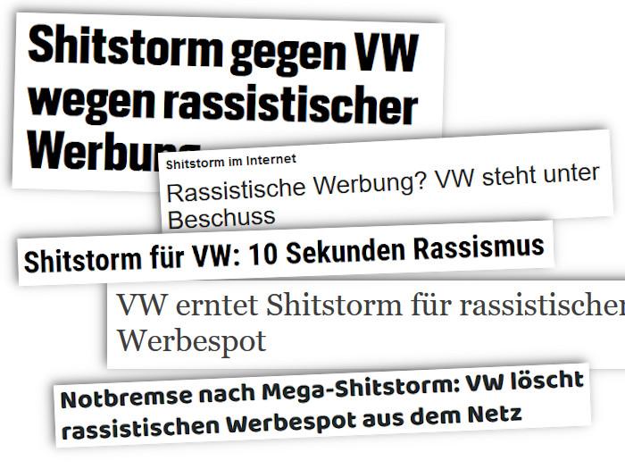Schlagzeilen zum vermeintlichen Shitstorm gegen Volkswagen
