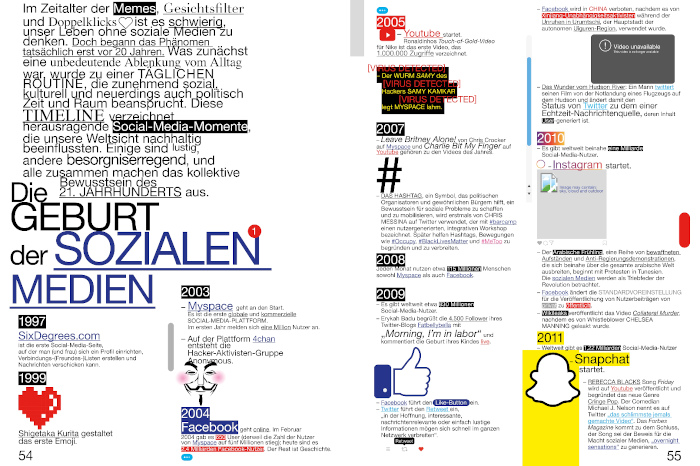 """Doppelseite zur Geburt der Sozialen Medien im Magazin """"Fräulein"""""""