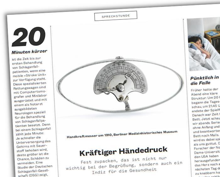 """Ein Handkraftmesser aus dem Magazin """"Hirschhausens Gesund Leben"""""""
