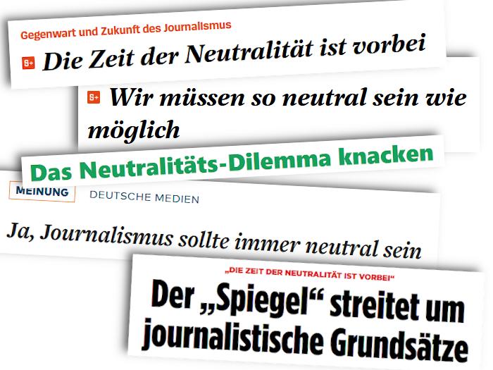 Schlagzeilen zum Thema Neutralität im Journalismus