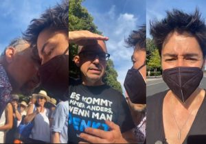 Dunja Hayali auf der Demo gegen die Corona-Maßnahmen in Berlin