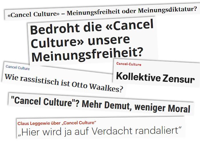 Ausgewählte Schlagzeilen zum Thema Cancel Culture