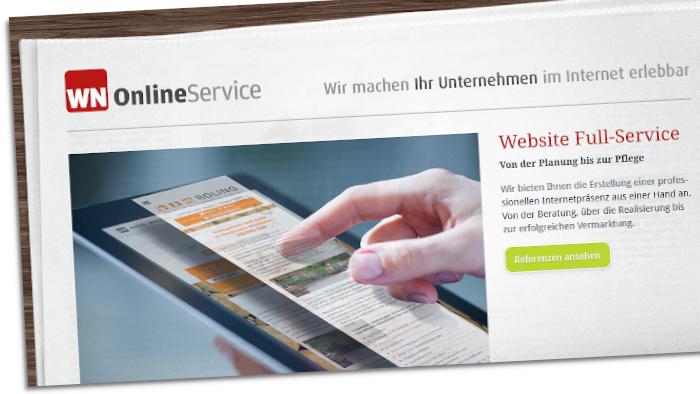 Ausschnitt der Website von WN OnlineService