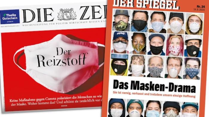 Die Cover von Spiegel und Zeit zur Maskenpflicht