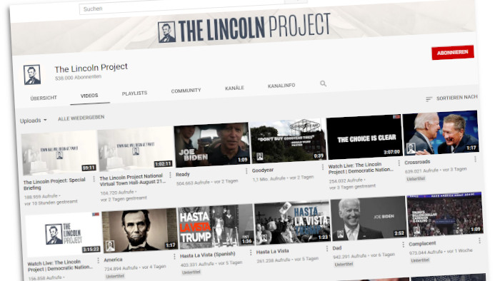 Screenshot des Youtube-Auftritt des Lincoln Projects