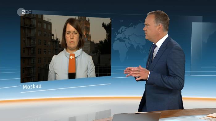 Schalte in der Sendung ZDF heute zur Korrespondentin Phoebe Gaa nach Moskau