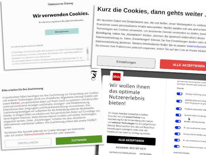 Die Cookie-Banner, wie sie auf vielen Websites erscheinen