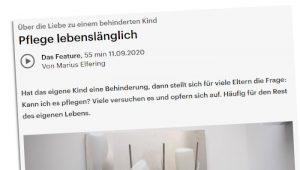 Ein Ausschnitt der Seite des Deutschlandfunk zum Feature: Pflege lebenslänglich