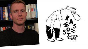 """Übermedien-Autor Markus Müller und das Logo der Rubrik """"Hasswort"""""""