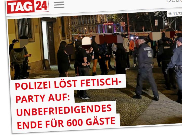 Ein Screenshot der Seite Tag24 zur aufgelösten vermeintlichen Fetisch-Party in Berlin