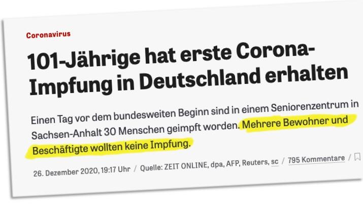 101-Jährige hat erste Corona-Impfung in Deutschland erhalten / Einen Tag vor dem bundesweiten Beginn sind in einem Seniorenzentrum in Sachsen-Anhalt 30 Menschen geimpft worden. Mehrere Bewohner und Beschäftigte wollten keine Impfung.