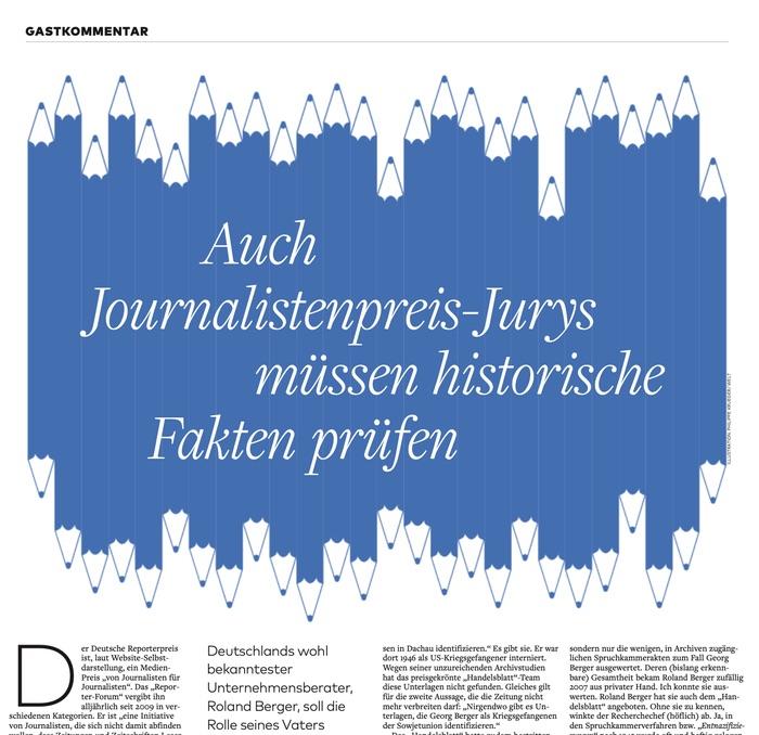 Auch Journalistenpreis-Jurys müssen historische Fakten prüfen