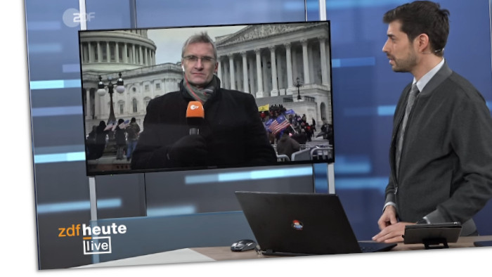 Screenshot aus dem ZDFheute Livestream aus der Nacht vom 6. Januar 2021