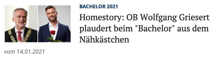 """Homestory: OB Wolfgang Griesert plaudert beim """"Bachelor"""" aus dem Nähkästchen"""