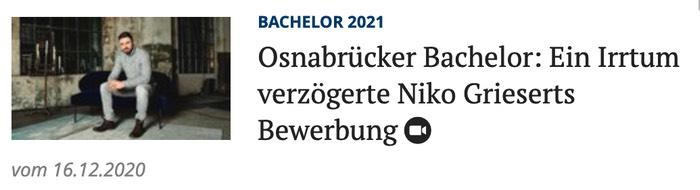 Osnabrücker Bachelor: Ein Irrtum verzögerte Niko Grieserts Bewerbung