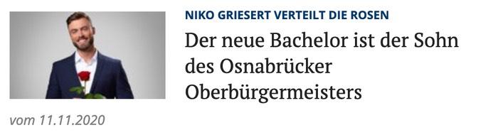 Der neue Bachelor ist der Sohn des Osnabrücker Oberbürgermeisters