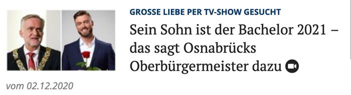 Sein Sohn ist der Bachelor 2021 - das sagt Osnabrücks Oberbürgermeister dazu