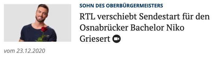 RTL verschiebt Sendestart für den Osnabrücker Bachelor Niko Griesert