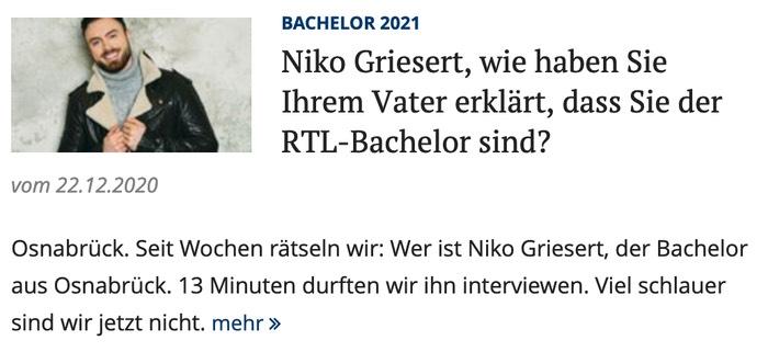 Niko Griesert, wie haben Sie Ihrem Vater erklärt, dass Sie der RTL-Bachelor sind?