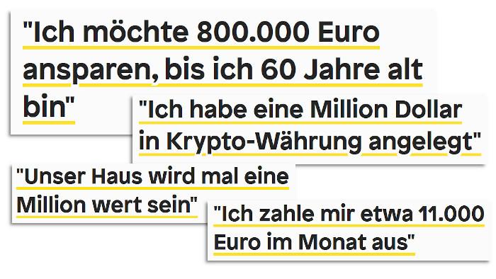 """Schlagzeilen aus der Serie """"Kontoauszug"""" von Zeit Online"""