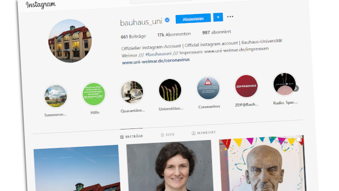 EIn Screenshot des Instagram-Accounts der Uni Weimar