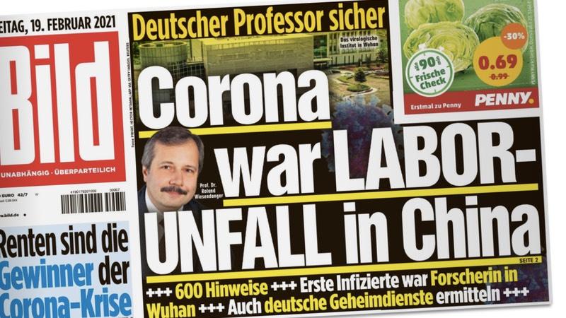 Bild-Titelseite: Deutscher Professor sicher / Corona war LABOR-UNFALL in China