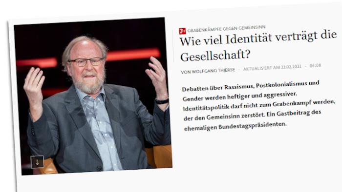 Foto von Wolfgang Thierse neben einem Gastbeitrag von ihm in der FAZ