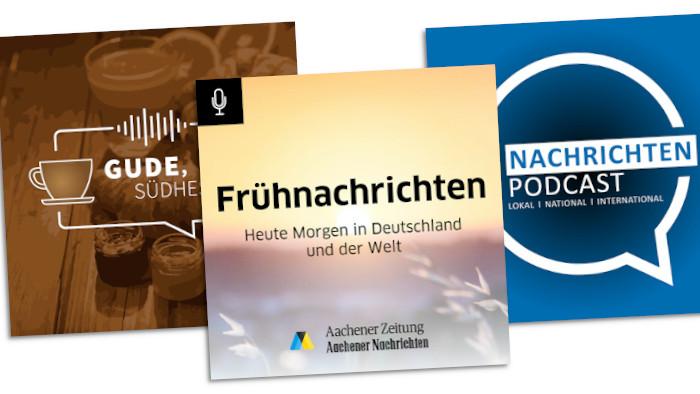 Die Logos der drei Podcasts von NWZ, VRM und Medienhaus Aachen