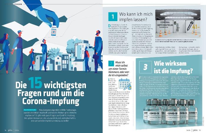 """2 Seiten aus dem Magazin """"pieks"""" übers Impfen"""