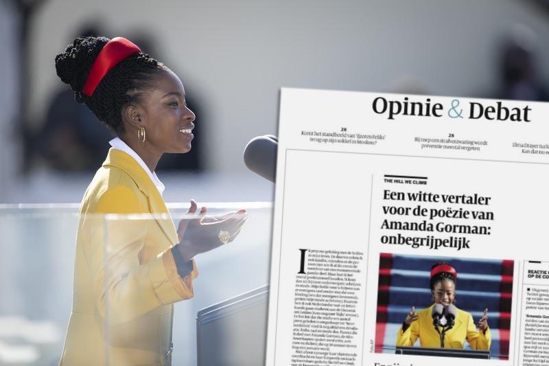 "Amanda Gorman mit Kommentar aus ""de Volkskrant"""