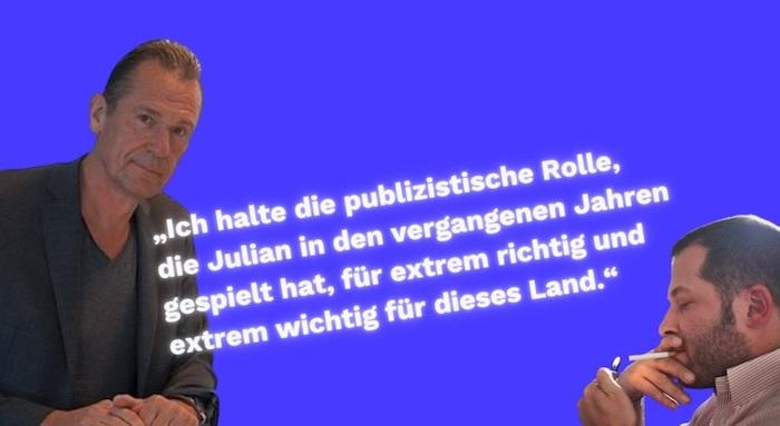 """Mathias Döpfner, Julian Reichelt. """"Ich halte die publizistische Rolle, die Julian in den vergangenen Jahren gespielt hat, für extrem richtig und extrem wichtig für dieses Land"""""""