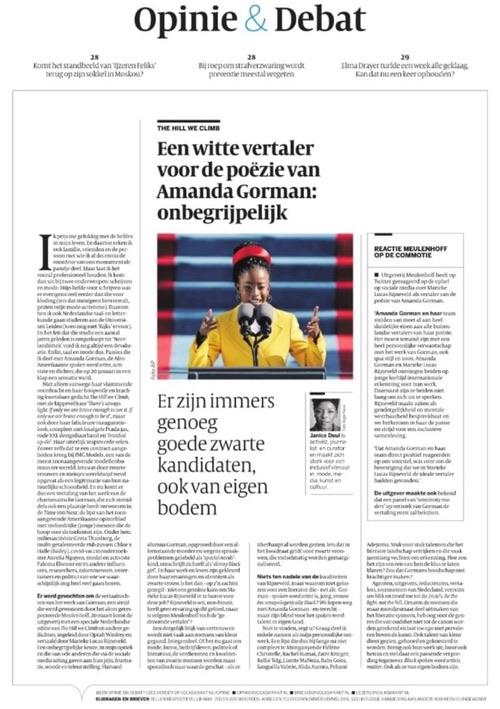 """Zeitungsseite """"de Volkskrant"""" mit Kommentar von Janice Deul: """"Eine weißer Übersetzer für das Gedicht von Amanda Gorman: unbegreiflich"""""""