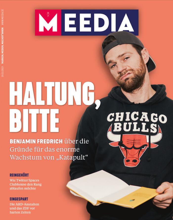 Benjamin Fredrich auf dem Cover der Zeitschrift Meedia