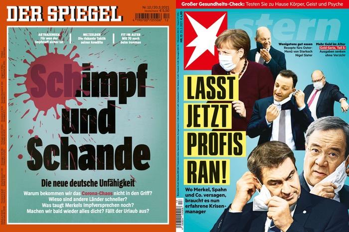 Spiegel-Cover: Schimpf und Schande. Stern-Cover: Lasst jetzt Profis ran!