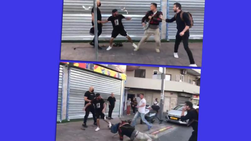 Zwei Bilder von einem Angriff auf Journalisten in Tel Aviv