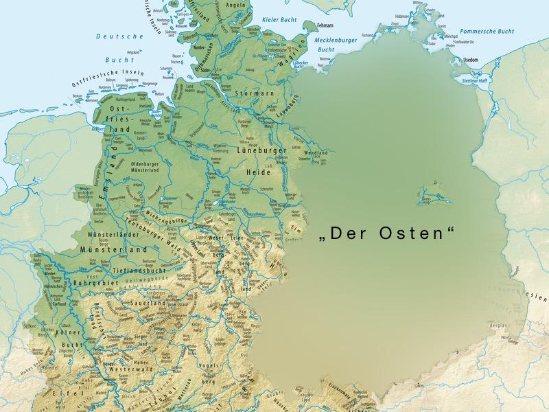 Deutschlandkarte mit vielen Details, außer im Osten
