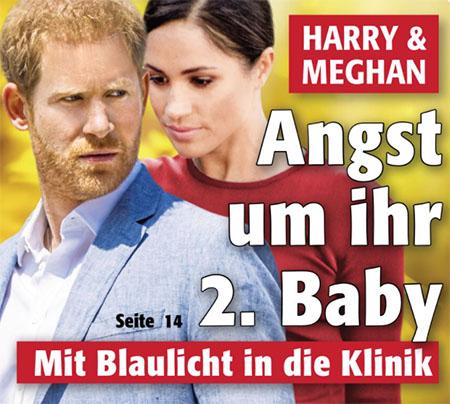 Harry & Meghan - Angst um ihr 2. Baby - Mit Blaulicht in die Klinik