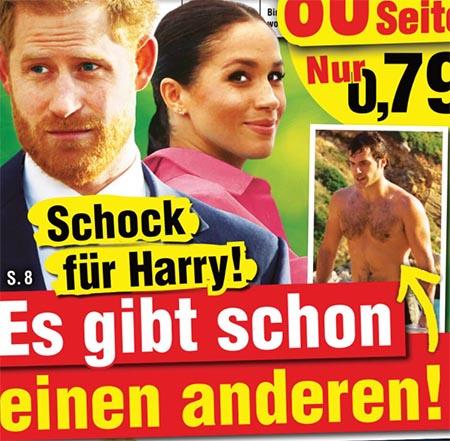 [Ein Foto von Harry und Meghan] Schock für Harry! - Es gibt schon einen anderen! [ein Pfeil zeigt auf ein Foto von Henry Cavill, oberkörperfrei]